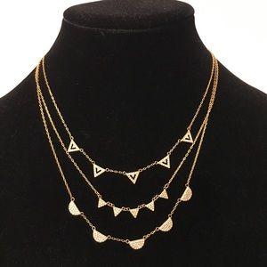 Stella & Dot Gold Pave Chevron Necklace Trio